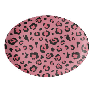Illustration of Leopard Pink Animal Porcelain Serving Platter