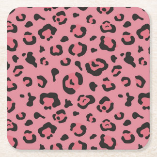 Illustration of Leopard Pink Animal Square Paper Coaster