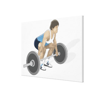 Illustration of man crouching preparing to lift canvas print