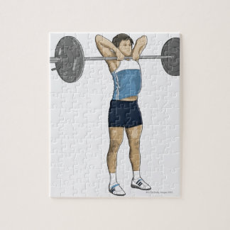 Illustration of man performing upright row jigsaw puzzle