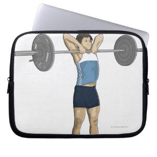 Illustration of man performing upright row laptop sleeve