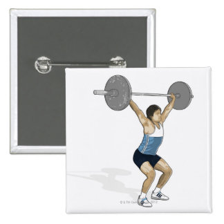 Illustration of man performing weightlifting 15 cm square badge