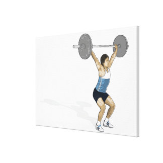 Illustration of man performing weightlifting canvas print