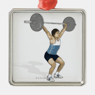 Illustration of man performing weightlifting christmas ornament