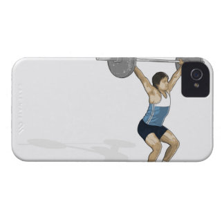 Illustration of man performing weightlifting iPhone 4 covers