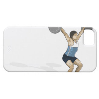 Illustration of man performing weightlifting iPhone 5 cases