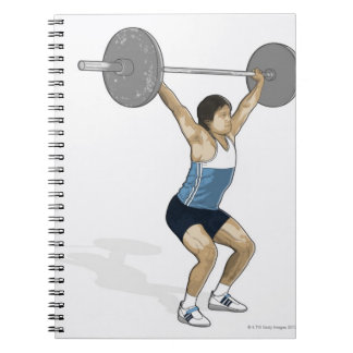 Illustration of man performing weightlifting notebooks
