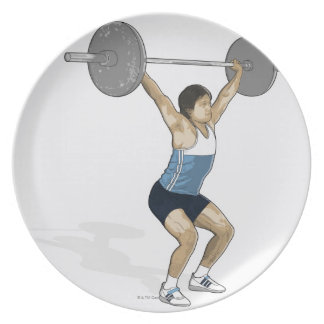 Illustration of man performing weightlifting plate