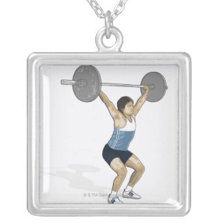 Illustration of man performing weightlifting silver plated necklace