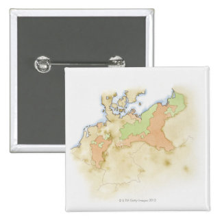 Illustration of map of Germany Pinback Button