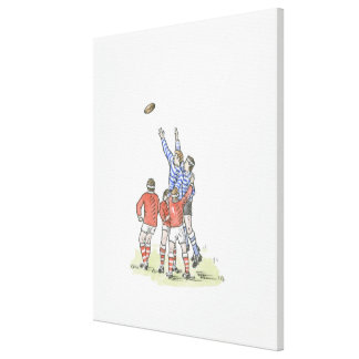 Illustration of men playing rugby jumping in air canvas print