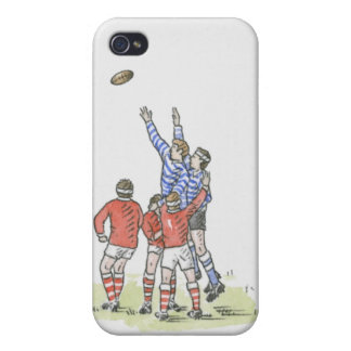 Illustration of men playing rugby jumping in air cases for iPhone 4