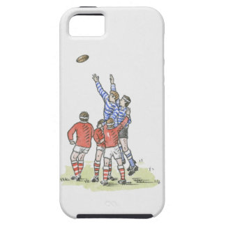 Illustration of men playing rugby jumping in air iPhone 5 cases