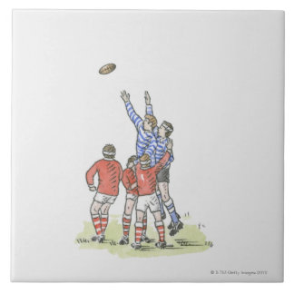 Illustration of men playing rugby jumping in air large square tile