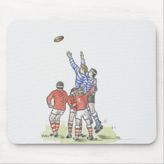 Illustration of men playing rugby jumping in air mouse pad
