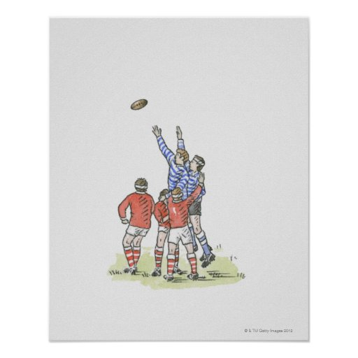 Illustration of men playing rugby jumping in air print