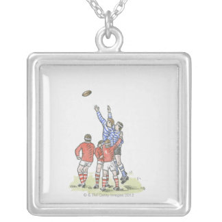 Illustration of men playing rugby jumping in air silver plated necklace