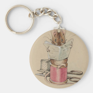 Illustration of Mouse Reading Newspaper Keychain