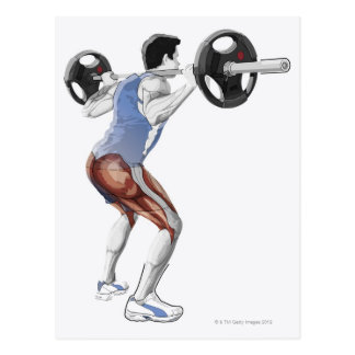 Illustration of muscles used by man to lift postcard