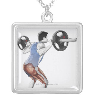 Illustration of muscles used by man to lift silver plated necklace