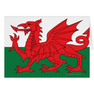 Illustration of national flag of Wales, with red Card