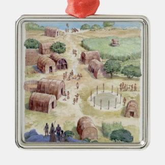 Illustration of native American village Silver-Colored Square Decoration