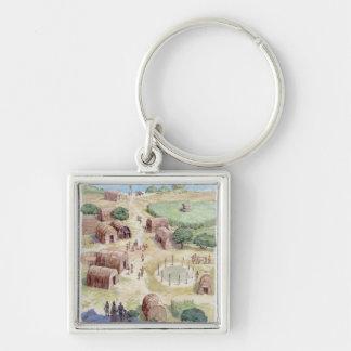 Illustration of native American village Key Ring