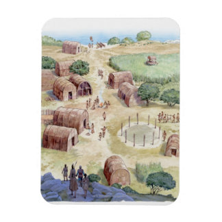Illustration of native American village Rectangular Photo Magnet
