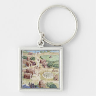 Illustration of native American village Silver-Colored Square Key Ring