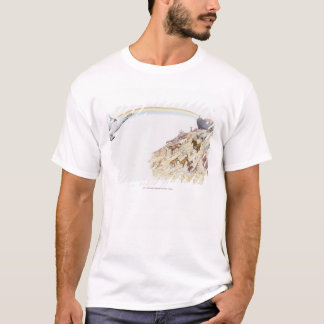 Illustration of Noah's ark with animals leaving T-Shirt