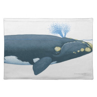 Illustration of North Pacific Right Whale Placemat