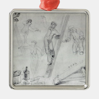 Illustration of Painting and Decorating Christmas Ornament