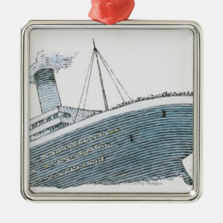 Illustration of passenger falling from the Titanic Christmas Ornament