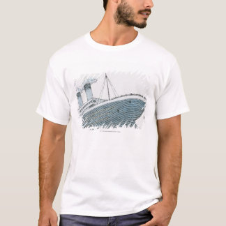 Illustration of passenger falling from the Titanic T-Shirt