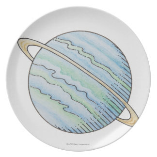 Illustration of planet with ring plate