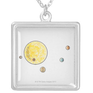 Illustration of planets orbiting the Sun Silver Plated Necklace