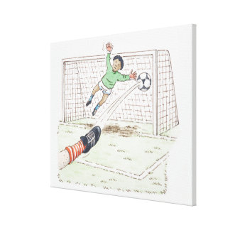 Illustration of player's foot kicking football canvas print