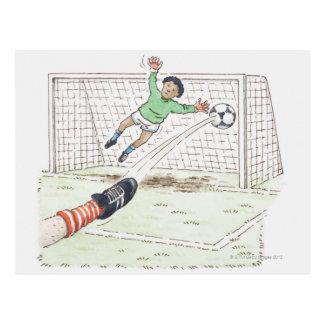 Illustration of player's foot kicking football postcard