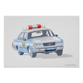 Illustration of police car with two policemen poster