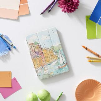 Illustration of Porofino Harbor With Sailboat iPad Mini Cover