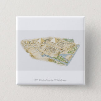 Illustration of Pyramids of Giza 15 Cm Square Badge