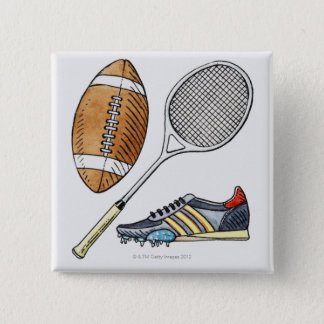 Illustration of rugby ball, tennis racquet, 15 cm square badge