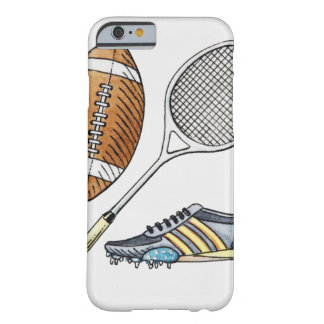Illustration of rugby ball, tennis racquet, barely there iPhone 6 case