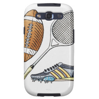 Illustration of rugby ball, tennis racquet, samsung galaxy SIII cases