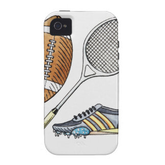 Illustration of rugby ball tennis racquet Case-Mate iPhone 4 case