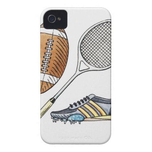 Illustration of rugby ball, tennis racquet, iPhone 4 cover