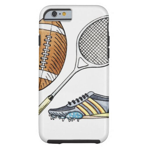 Illustration of rugby ball, tennis racquet, iPhone 6 case