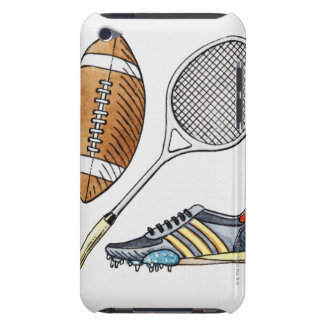 Illustration of rugby ball, tennis racquet, barely there iPod cases