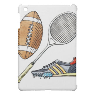 Illustration of rugby ball, tennis racquet, case for the iPad mini