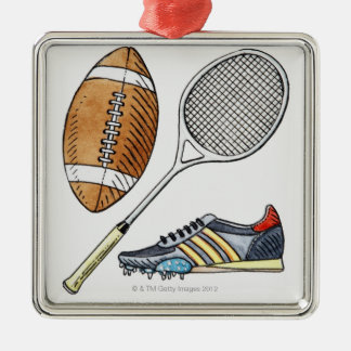 Illustration of rugby ball, tennis racquet, christmas ornament